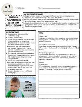 Research Skills: Paraphrasing and Practice Worksheet by