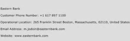 Eastern Bank Customer Service Phone Number   Contact