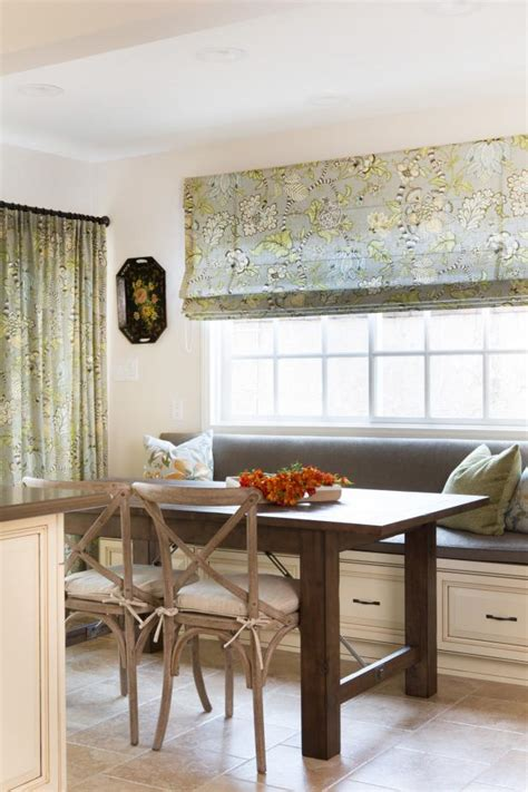 Cottage Kitchen With Banquette Window Seating, Roman