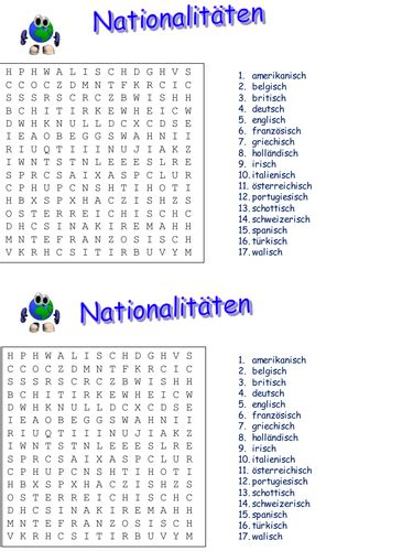 Nationalities; crossword, wordsearch and summary