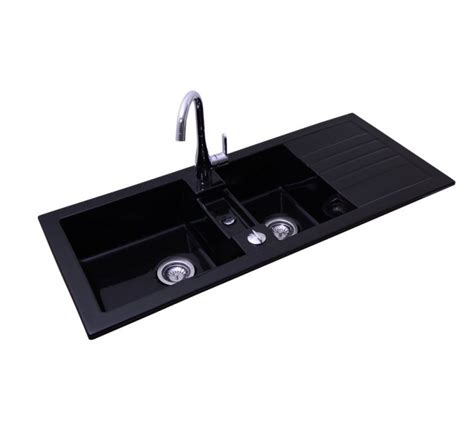 Sink Ceramic Timbre d'Office Recessed Soft Black 2 Trays