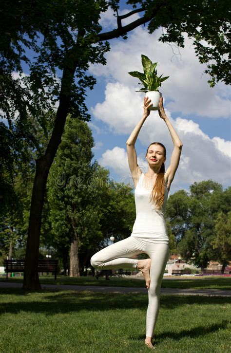 Woman Standing In Tree Pose Royalty Free Stock Images
