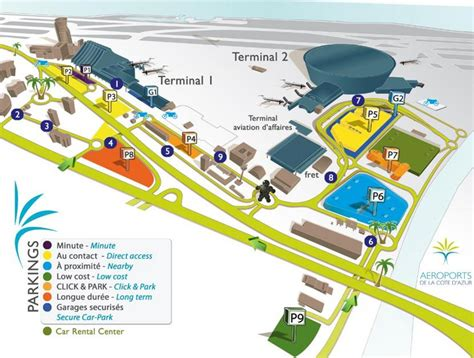 Nice airport map - Map of Nice airport (Provence-Alpes