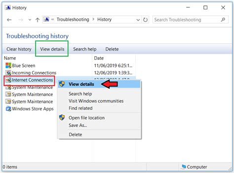 View Troubleshooting History In Windows 10