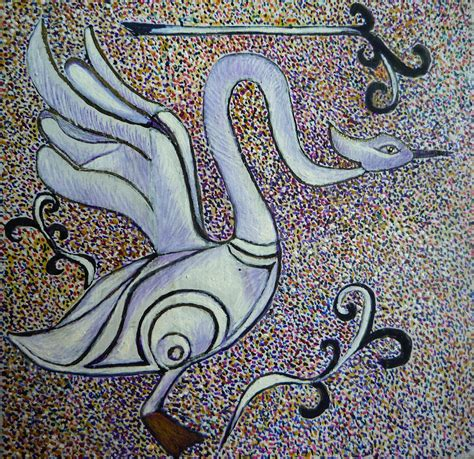 Celtic Swan Totem Painting by Catherine Meyers