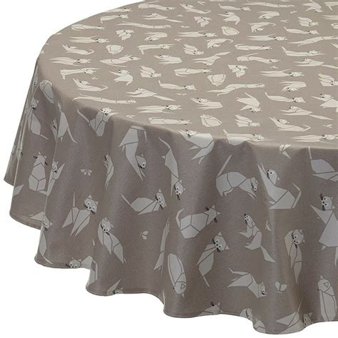 Nappe enduite ronde ou ovale Chats taupe